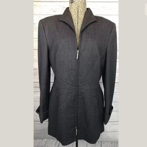 Escada size 40 (10) blazer gray zip up